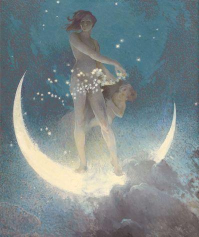 Edwin Blashfield 'La primavera dispersando estrellas', 1927. Colección privada. Wikimedia Commons, 6 agosto 2015