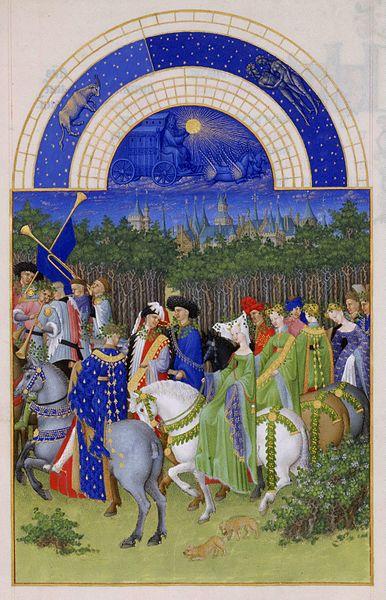 Mayo.Les' Très Riches Heures du Duc de Berry:'.ilutstración de Gebroeders van Limburg (1412-1416), Musée Condé, Chantilly-Francia.