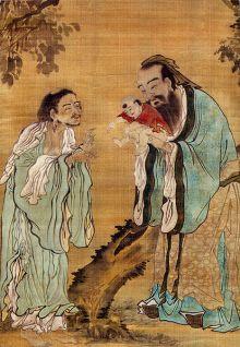 """""""Confucio presenta el joven Gautama Buda a Laozi"""", pintura de la Dinastía Ming. China"""