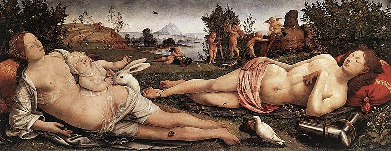 'Venus, Marte y Cupido', Piero di Cosimo, 1490. Gemäldegalerie, Museos Estatales del Berlín, Alemania