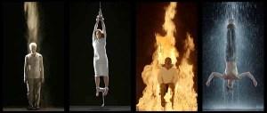 """Bill Viola,""""Mártires"""" (tierra, aire, fuego, agua), video, 2014. Kira Perov, Productora Ejecutiva. St. Paul Cathedral. Londres, Gran Bretaña. billviola Web.11 Jun 2014."""