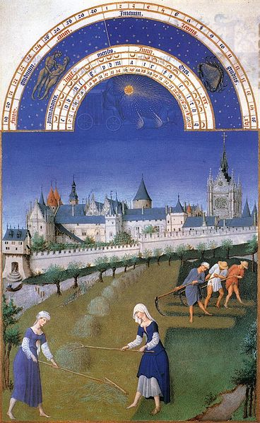 Junio, Les' Très Riches Heures du Duc de Berry:'.ilutstración de Gebroeders van Limburg (1412-1416), Musée Condé, Chantilly-Francia.