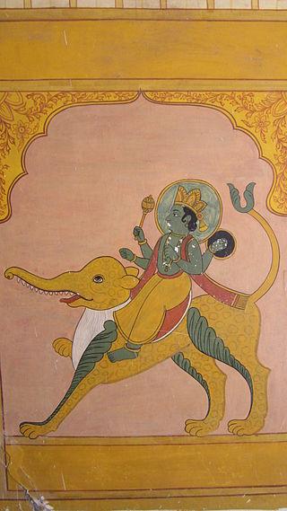 'Mercurio_Budha'. En la mitología hindú, Budha es el nombre para el planeta Mercurio, su hijo Chandra (la Luna). Mural de Jawahar Kala Kendra, Jaipur. Wikimedia