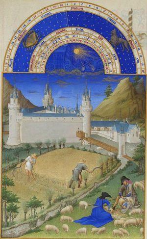 Julio, Les' Très Riches Heures du Duc de Berry:'.ilutstración de Gebroeders van Limburg (1412-1416), Musée Condé, Chantilly-Francia.