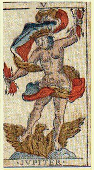 Jupiter, quinta carta  delTarot de Besançon, 1818, Strasbourg, Francia. Wikimedia 20 enero 2011