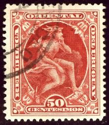 Estampilla postal de Uruguay, 50 centésimos issue 1901, Mercurio. Michel N°155. Wikimedia, 21 Junio 2014.