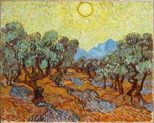 Vincent van Gogh, 'Olivos con cielo amarillo y el Sol'. Saint-Rémy, Noviembre 1889.  	 Minneapolis Institute of Arts, USA. Wikimedia Commons, 13 de enero 2013.
