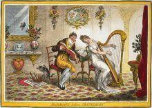 """James Gillray """"Armonía antes Matrimonio"""", una caricatura,del 25 de octubre de 1805  que representa un cortejo musical.  Biblioteca del Congreso de Grabados y Fotografías de División de Washington, EE.UU.. Wikimedia Commons 8  julio 2006"""