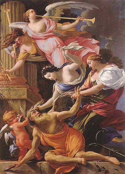 Simon Vouet 'Saturno, conquistado por el Amor, Venus y la esperanza',1645-1646. Musée du Berry, Brujas, Bélgica. Web Gallery of Art. Wikimedia Commons 24 Julio 2011.