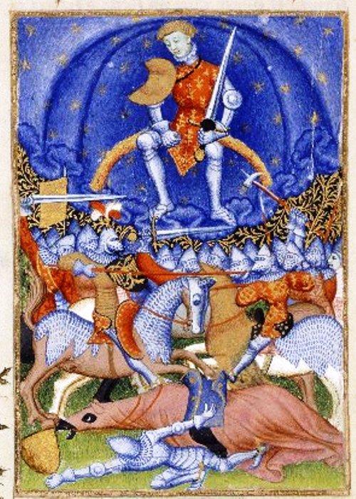 Anónimo,.Marte, sentado en un arco iris con una espada y un cetro, excita a los hombres a la guerra. Epístola de Othea (Manuscrito de la Reina). Siglo 15. Wikimedia Commons 17 septiembre 2012