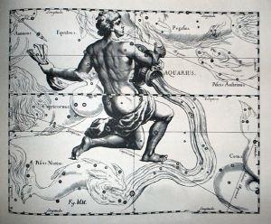 Johannes Hevelius, Constelación de Acuario,  obra Uranografíia de 1690, Wkimedia Commons 28 de septiembre 2011