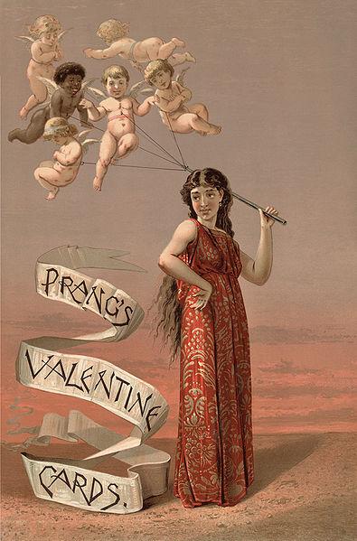 L. Prang & Co, Publicidad para tarjetas de felicitación de San Valentín, 1883. Librería del Congreso, Washington DC, USA. Wikimedia Commons 29 octubre 2009
