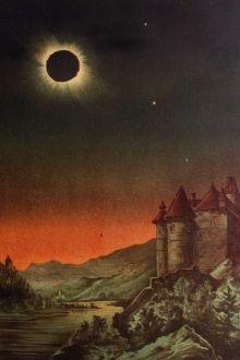 """E. Weiß: Total Solar Eclipse, """"Bilderatlas der Sternenwelt"""", Publicado en 1888. Wikimedia Commons 26 marzo 2006"""