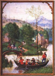 Simon Bening 'Las labores de los meses: Mayo, del Libro Flamenco de las Horas (Brujas). primera mitad del siglo 16. Munich,, Alemania. Wikimedia Commons 19 septiembre 2006