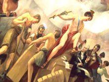 Mercurio, dios del comercio, es la figura central en la viñeta comercio de la apoteosis de Washington en la cúpula del Capitolio de Estados Unidos en Washington, DC. Foto: Farragutful. Wikimedia Commons 15 junio 2013