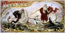 Etiqueta del paquete de tabaco 1860-1870. con 2 ninfas y 2 caballos tirando de Neptuno a través del agua. Manufacturado por J.L. Adams. Biblioteca del Congreso de Grabados y Fotografías de Washington, DC EE.UU. Wikimedia Commons, 22 agosto 2008
