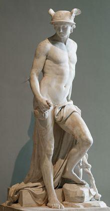 ugustin Pajou 'Mercurio', escultura en mármol, 1780. Museo del Louvre,  Paris-Francia. Wikimedia Commons 18 junio 2006