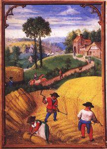 Simon Bening 'Las labores de los meses: agosto, del Libro Flamenco de las Horas (Brujas). primera mitad del siglo 16. Munich,, Alemania. Wikimedia Commons 19 septiembre 2006