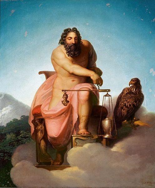 Nicolai Abraham Abildgaard 'Júpiter Pesar el destino del hombre', óleo sobre lienzo de1793, Museo de Ribe, Dinamarca. Wikimedia Commons 16 diciembre 2013
