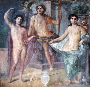 'Júpiter entronizado con Marte y Venus'. Fresco de Pompeya, Casa di Marcus Fabius Rufus (regio VII, 16, Insula Occidentalis 22, oecus 62). Pompeya, Provincia de Napoles, Italia. Wikimedia Commons 5 febrero 2010