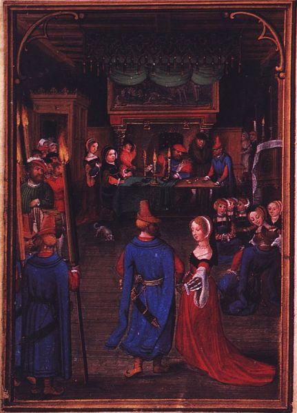 Simon Bening 'Las labores de los meses: diciembre, del Libro Flamenco de las Horas (Brujas). primera mitad del siglo 16. Munich,, Alemania. Wikimedia Commons 19 septiembre 2006