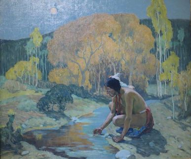 E. Irving Couse 'Luna de otoño', 1927. El Paso Museum of Art, Texas-EE.UU. Wikimedia Commons 9 abril 2015
