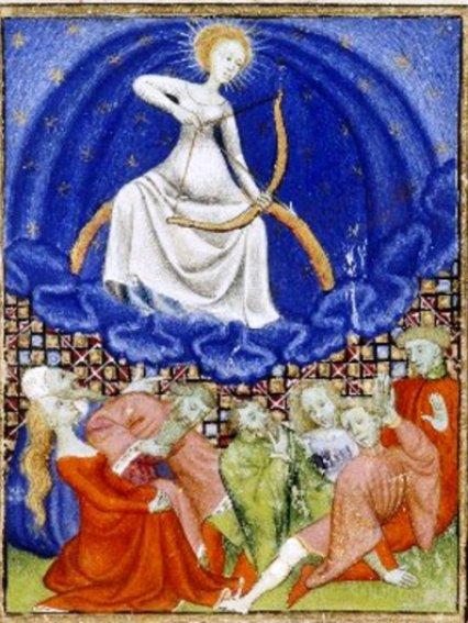 Anónimo, Luna Epístola de Othea (Manuscrito de la Reina). Siglo 15. Wikimedia Commons 17 septiembre 2012