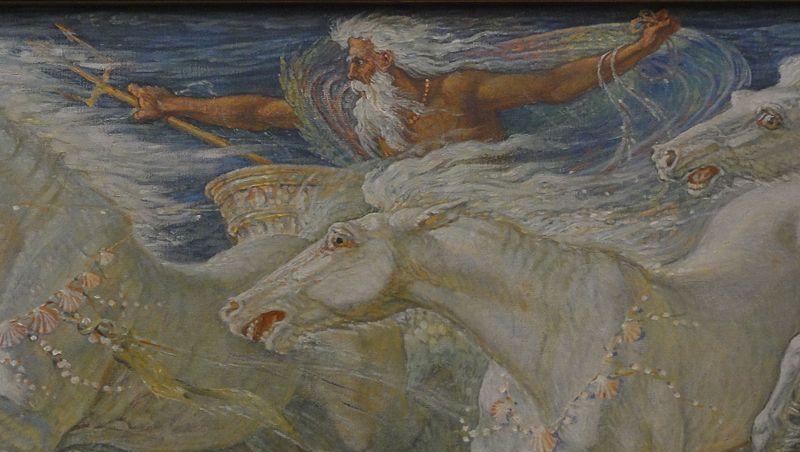 Walter Crane 'Los Caballos de Neptuno' (detalle), 1892. Neue Pinakothek, Munch-Alemania. Wikimedia Commons 7 abril 2013