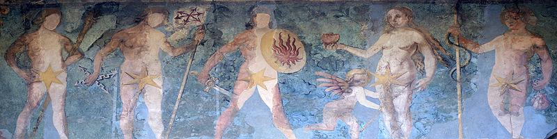 Fresco que muestra los dioses / planetas Saturno, Júpiter, Marte, Venus y Mercurio. Fachada oriental, torre Zytglogge en Berna, Suiza. Foto Sandstein, 8 abril 2007. Wikimedia Commons 15 abril 2007