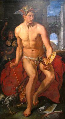 Hendrik Goltzius 'Mercurio', pintura sobre lienzo 1611. Frans Hals Museum, Haarlem Holanda.  Wikimedia Commons 22 agosto 2009