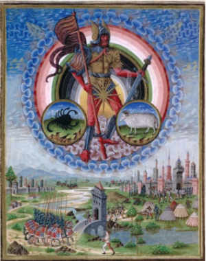 Atribuido a Cristoforo de Predis, 'Marte' Códice miniatura dal De Sphaera, alrededor del año 1470, Biblioteca Estense, Módena, Italia. Wikimedia Commons 7 de diciembre de 2014