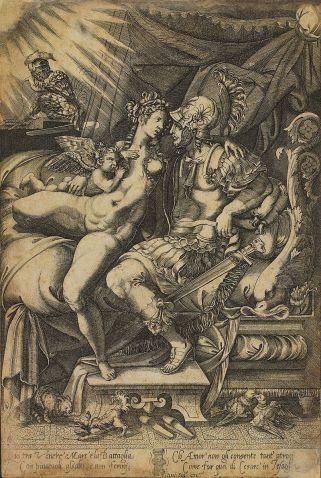 Enea Vico 'El amor de Marte y Venus', grabado del siglo 16. Biblioteca Nacional de Brasil.Wikimedia Commons, 23 de junio 2015