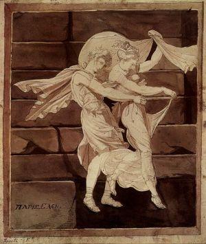 Johann Füssli, 'Afrodita (Venus) lleva París a un duelo con Menelao', 1766-1770, City Art Gallery, Oakland, The Yorck Project, USA. Wkimedia Commons 19 mayo 2005