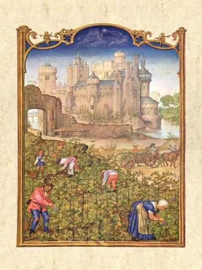Gerard Horenbout, Alexander & Simon Bening 'septiembre', 1510. Fuente Venecia, Biblioteca Marciana. Wikimedia Commons 25 septiembre 2006