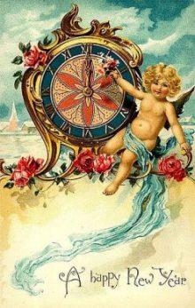 Postal del Año Nuevo alrededor de 1900. Foto: dItsLassieTime. Wikimedia Commons 26 Diciembre 2008