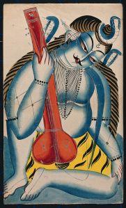 Shiva intoxicado sosteniendo un sitar o tambura. Acuarela. Wellcome Library no. 26100i. Wikimedia Commons 7 Noviembre 2014