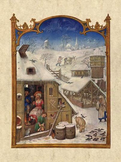 Gerard Horenbout, Alexander & Simon Bening 1510 'Febrero', Fuente Venecia, Biblioteca Marciana. Wikimedia Commons 25 Septiembre 2006