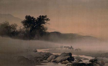 """Kawai Gyokudc """"Luna Nueva"""", 1907. Sumi y color sobre seda, pergamino colgante, el primer premio de la exposición de la industria de Tokio en 1907. Museo de Arte Moderno de Tokio, Japón. Wikimedia Commons 15 Febrero 2016"""