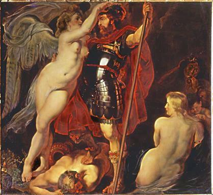 """Peter Paul Rubens, representación de la coronación de Marte en el """"Triunfo de la virtud"""". Circa 1616, óleo sobre lienzo. Dresde, Gemäldegalerie Alte Meister."""