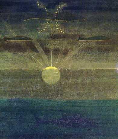 Mikalojus Konstantinas Čiurlionis, Žuvys (Piscis) en el ciclo de doce ciclos Zodiakas. 1907. M.K. Ciurlionis Painting Gallery, Lituania. Wikimedia Commons 1 de Enero 2008