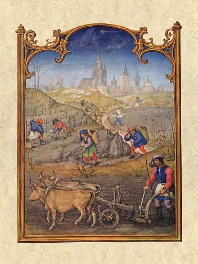 Gerard Horenbout, Alexander & Simon Bening 1510 'Marzo', Fuente Venecia, Biblioteca Marciana. Wikimedia Commons 25 Septiembre 2006