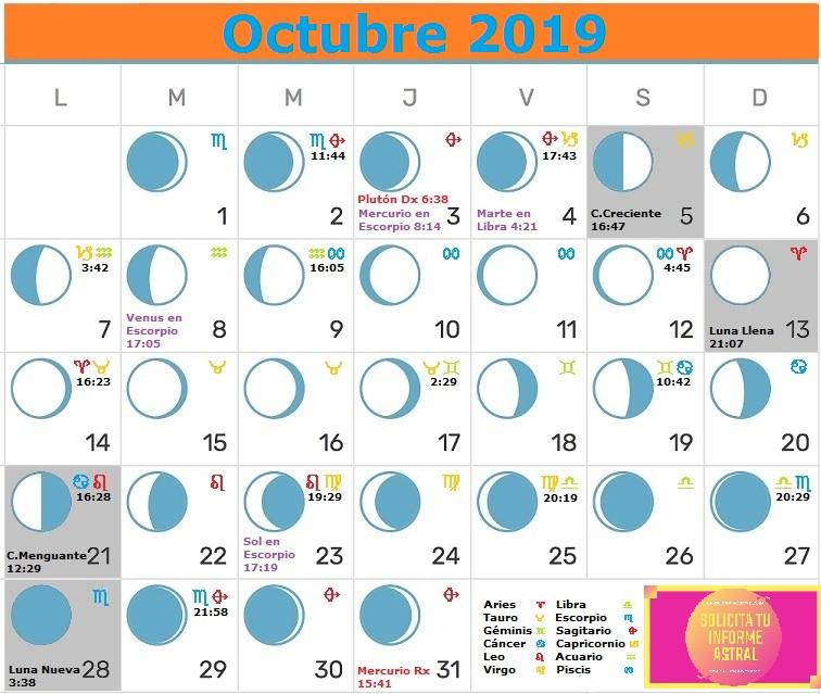 Calendario Lunar Octubre 2019