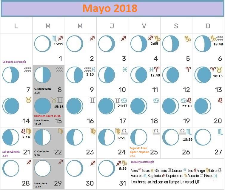 Calendario lunar mayo 2018 la buena astrolog a for Calendario lunar junio