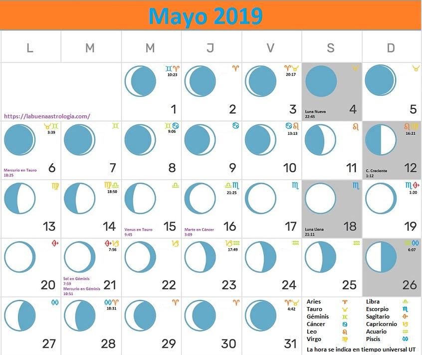 Calendario Lunar mayo 2019