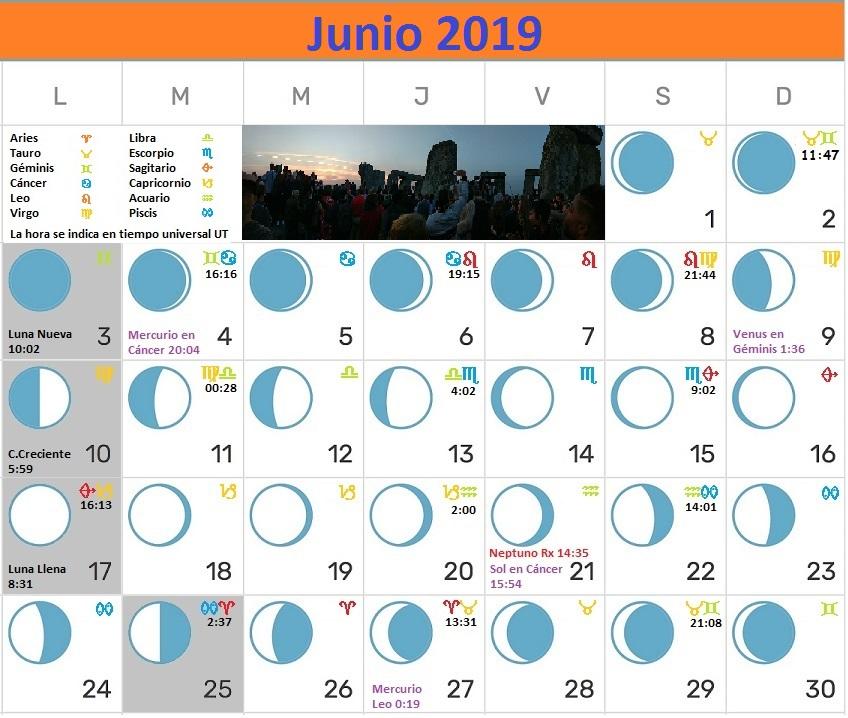 Calendario Lunar junio 2019