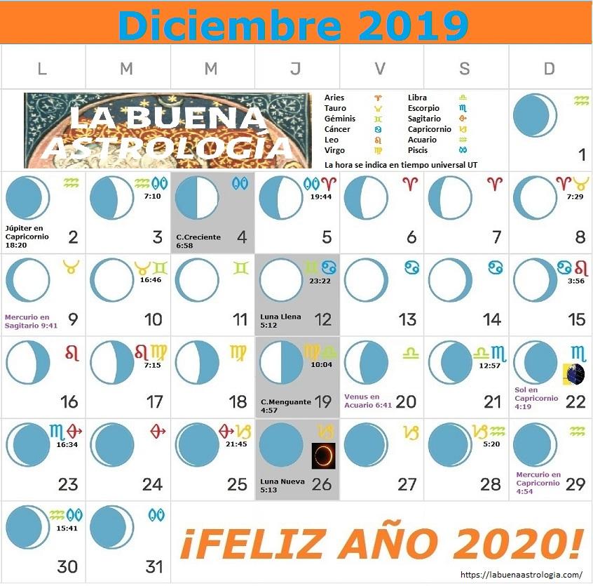 Calendario Lunar Diciembre 2019