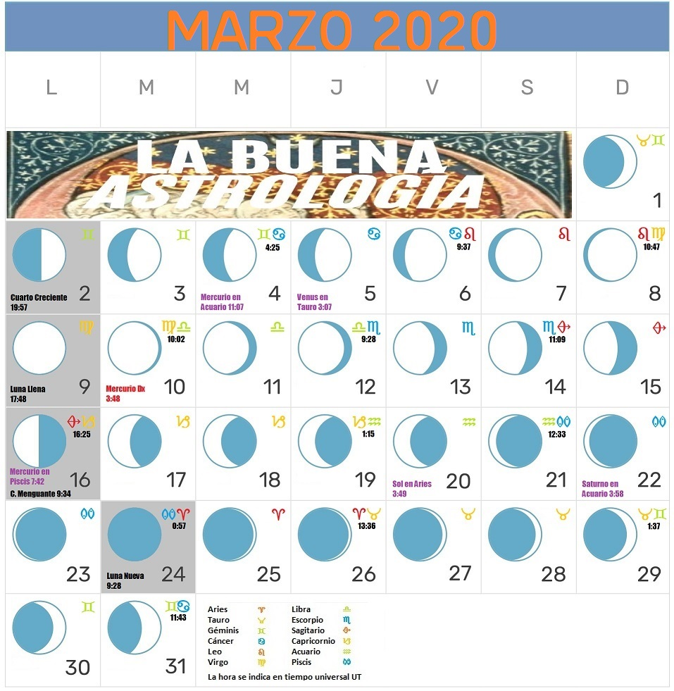 Calendario Lunar Marzo 2020