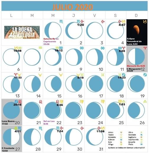 Julio 2020  Calendarios de Buena Astrología