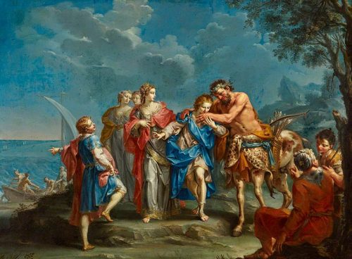 Quirón-Giuseppe_Marchesi_(1699-1771)_-_Achilles_Takes_Leave_of_the_Centaur_Chiron_-_1530077_-_National_Trust