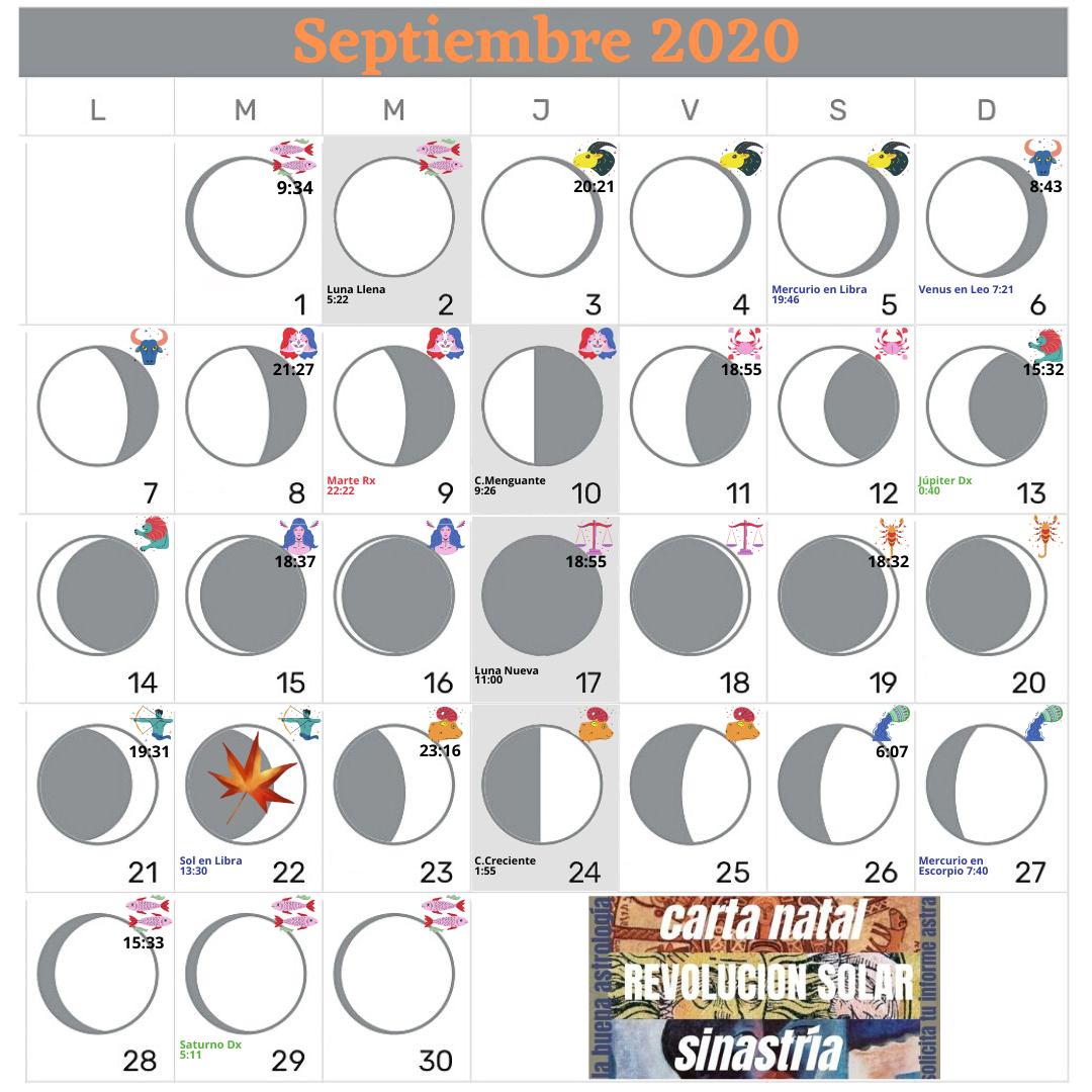 Calendario Lunar Septiembre 2020